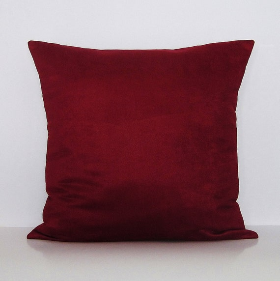 Throw Pillows For Burgundy Couch : Sale Burgundy Suede Lumbar Pillow Cover by GigglesOfDelight