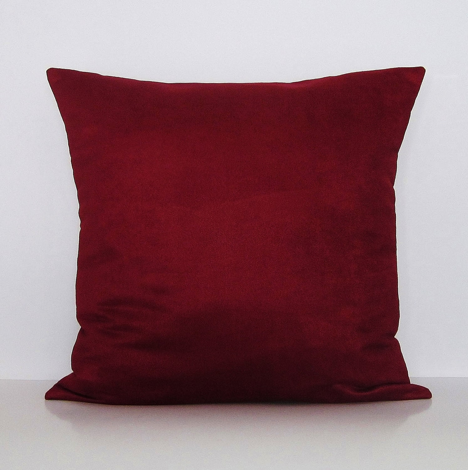 Burgundy Suede Pillow Cover Burgundy Throw Pillow Cover