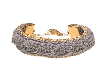 Bracelet KSENA //  Taupe and Gold crochet