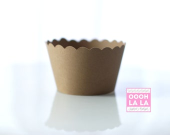 MADE TO ORDER Set of 100 Kraft Paper Cupcake Wrappers/Holders