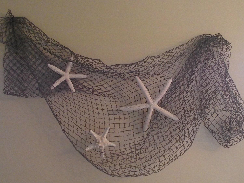 Coastal beach nautical home decor starfish wedding decor for Fishing net decor