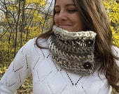 OOAK neutral cowl - button up cowl