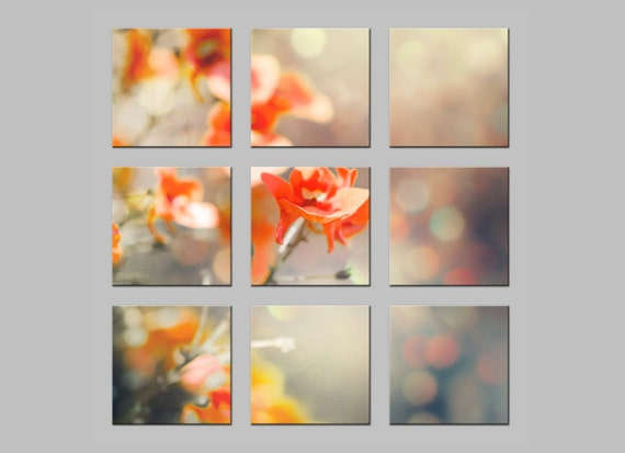 Metal Prints. FREE SHIPPING. Little Red Blossoms with Bokeh. Flowers. Tic Tac Toe Photo Split. Dreamy Nature Photography by OneFrameStories.