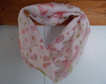 """Infinity Scarf. Cream with light pink and green transparent flowers.  Approx 5"""" x 72"""".  Great light weight scarf to add  to your outfit."""