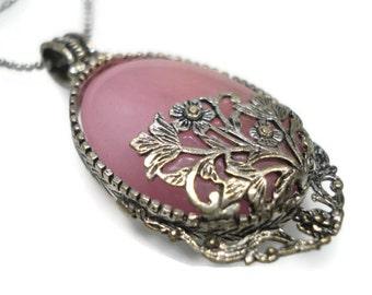 Pink Necklace-Pink Pendant -Natural Stone Necklace-Pink Natural Stone Pendant Necklace-Silver Plated Filigree