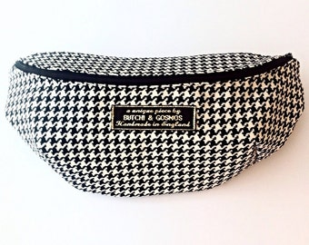Black and white houndstooth fabric bumbag / Fanny pack / Hip bag / Belt bag / shoulder handbag with Black zip