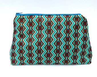 Butchi & Gosmos 'Mosaic' Large Make-up bag / clutch / purse made with shimmering jade green ankara fabric