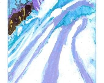 "POCKET ART.  ""Snowdrifts"" - 86 x 54 mm. Miniature painting on repurposed single-fare paper subway ticket."