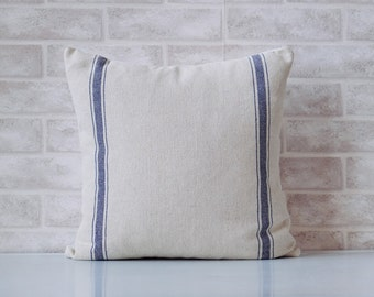 Farmhouse fabric, home decor, navy blue stripes, grain sack pillow cover, french farmhouse, french country, livingroom decor