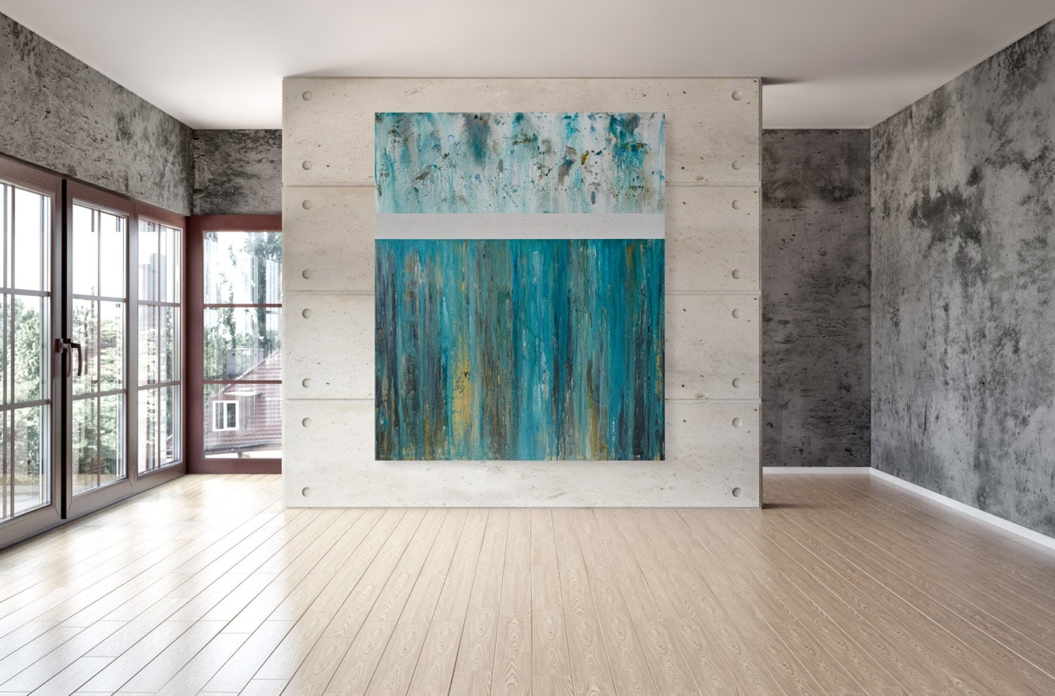 Large teal wall decor : Large modern wall art teal and white abstract by cmfa