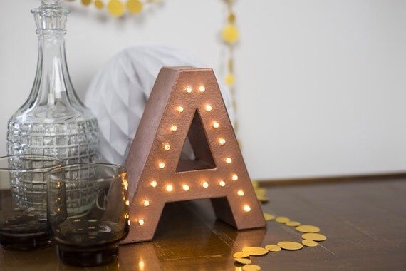 Freestanding marquee letter light light up letter monogram