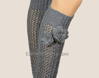 Gray Leg Warmers Crochet Rosa Boot Socks -Women's accessories