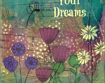 "Believe in Your Dreams - 8"" x 10"" mixed media print or mounted print, inspirational art print, graduation, birthday, confirmation gift"