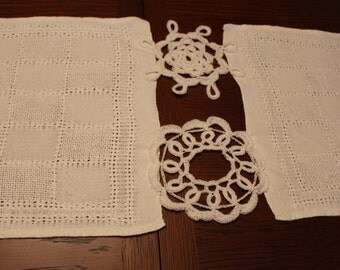 Off-White Table Runner made with vintage table linens and doilies for weddings
