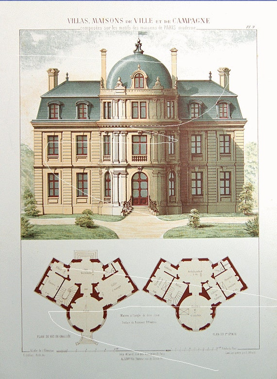 Antique architectural print architecture 1864 villas for Printing architectural drawings