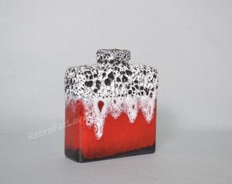 "red, black & white West German Keramik vase by Jopeko 900/16 decor called ""Firn Rot"""
