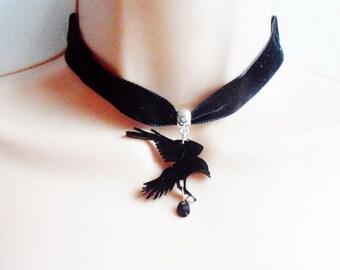 Dark romance - Crow velvet choker