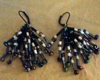 Black and White Bead Earrings.   (E 240)