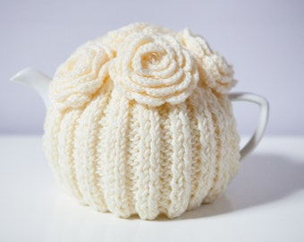 Cream Tea Cozy with Crocheted Flowers.Hand-Knit. Ready to Ship.