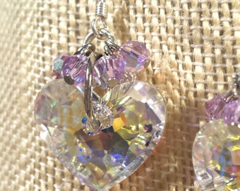 Two Beautiful Iridescent Swarovski Crystal Hearts with Lavender Swarovski Crystal Clusters on Sterling Silver French Wire Earrings