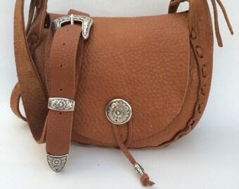 Golden Brown Bison Leather Bag
