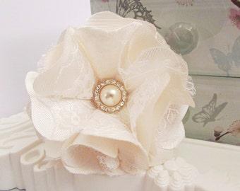 Cream Satin / Lace Fabric Flower with Pearl & Genuine Crystal Diamante Embellishment Hair Accessory Corsage Sash Bride Wedding Prom Brooch