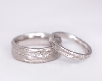 Organic Branch Rustic Wedding Band Set-Real Tree Branch Wedding Bands Set- Nature Organic Wedding Bands