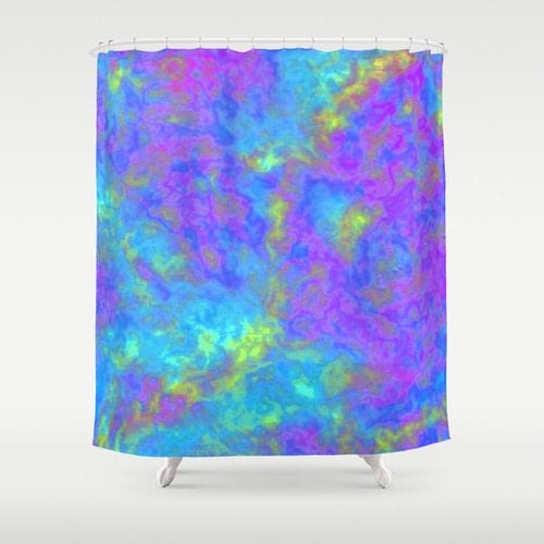 Galaxy shower curtain psychedelic decor blue bathroom decor for Turquoise blue bathroom accessories
