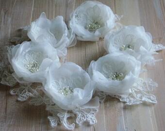 Ivory lace hair flower Ivory hair flower Ivory wedding lace Lace hair flower Ivory bridal headpiece 3 inch ivory flower Bridal lace flower