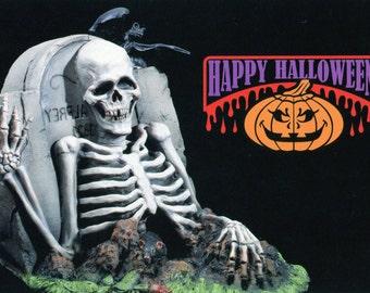 halloween, skeleton, postcard, grave