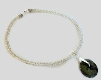 Silver Viking Knit Necklace with Interchangable Pendant