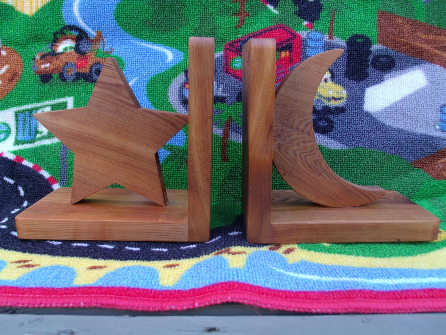Handmade eco friendly wooden bookends star moon bookends - Sturdy bookends ...