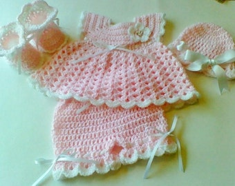Crochet Pink White Baby Girl Dress Set Layette with Bloomers Hat And Booties Newborn Baby Shower Gift Sz 0-3Months READY TO SHIP
