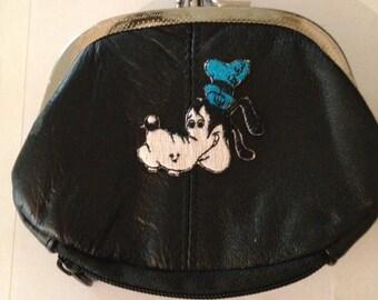 Goofy Design Black Leather Change Purse