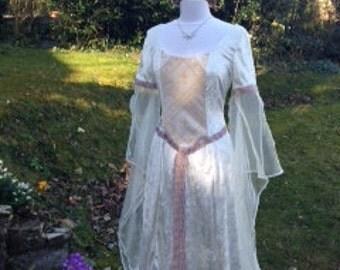 Bespoke pre raphaelite Accolade Ivory fairy medieval renaissance  pagan Handfasting celtic wedding gown / dress 10 TO 14