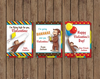 Curious George Valentine Cards - PRINTABLE - Monkey - Personalized