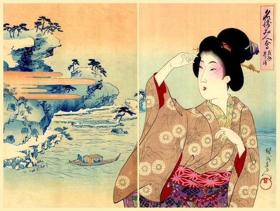 Estampes japonaises geishas beaut s belles femmes paysages for Immagini di case antiche
