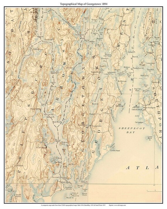 Georgetown Old Topographic Map USGS Custom Composite - Topographical map of maine