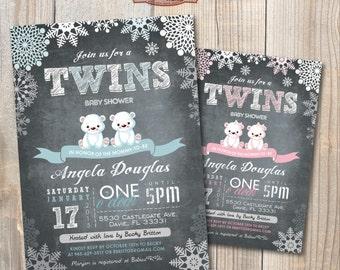 Twins Baby Shower Invitation. Chalkboard. Polar Bears. DIY card. Digital Printable card