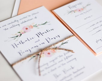 Wedding Invitation, Watercolor Floral Wedding Invitation: NATALIE