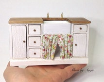 Dollhouse sink unit. Dollhouse miniature kitchen sink.