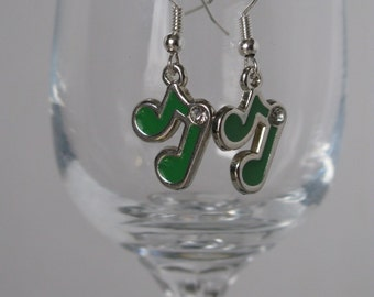Music Note Earrings in Blue, Green or Yellow