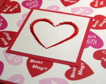 Embroidered heart Valentine's card / Candy heart embroidered Wedding card / Zebra stripe Valentine / Embroidered heart card