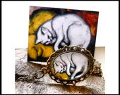 Franz Marc Cat medallion, glass cabochon, bronze tone necklace, art print, artistic jewelry, yellow pillow