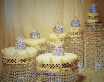 wedding cake stand cascade waterfall crystal set of 6 asian wedding