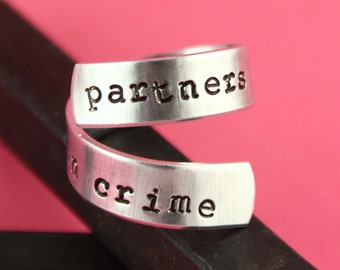SALE - Partners in Crime Wrap Ring - Handcuffs - Adjustable Twist Aluminum Ring - Handstamped Ring - Best Friends Gift - BFF - Mother's Day