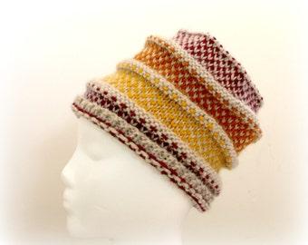 Fall colors, handknit hat, burgundy, pumpkin orange, mustard yellow, knit beanie, wool hat