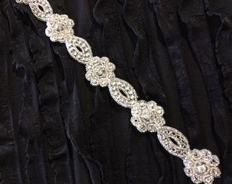 13inch length Beaded Rhinestone Trim Applique- Wedding Dress Sash Headband Jewelry
