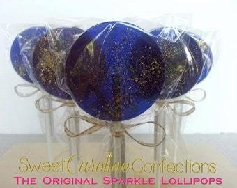 Navy and Gold Wedding Favors, Nautical Favors, Hard Candy Lollipops, Nautical Theme, Candy Lollipop, Sparkle Lollipops, -Set of Six