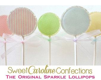 Pastel Lollipops, Easter Favors, Easter Candy, Lollipops, Sparkle Lollipops, Sweet Caroline Confections-Set of Six